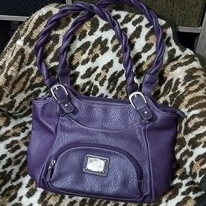 Rosetti Purple 'Leather' Twisted Handle Satchel